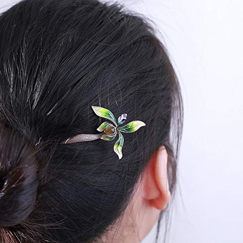 HangErFeng Hair Stick S925 Silver Ancient Wind Hair Hammer Inlaid with Agate Original Flower Retro Headdress Hammer (Green)]()
