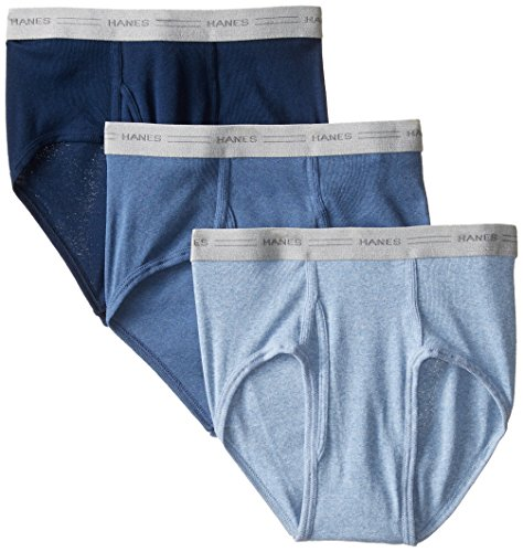 Hanes Men's 3-Pack Mid-Rise Exposed Waistband Briefs, Assorted Solids, Large (Hanes Mens Underwear Mid Rise)