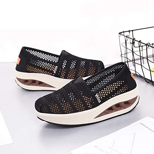 Respirable Deporte la Suaves de Malla Negro Qiusa la Comodidad la de Zapatillas EU Raya de Negro tamaño Deporte Ocasionales 40 de Zapatillas de Color 0xwZTZE