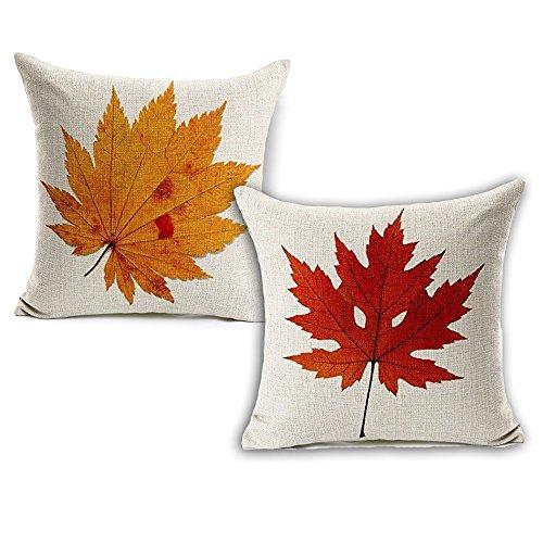 Wonder4 Spring Leaves Decration Pillow Case, Nature Leaves Print looks like falling leaves on Couch Sofa, 2pcs Cotton Linen Sofa Pillow Cushion Case 18 x (Autumn Decor)