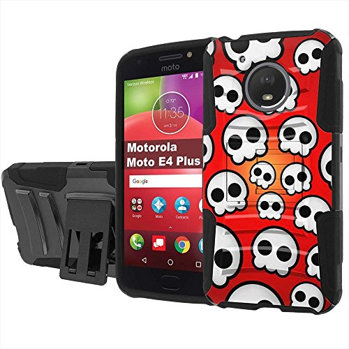 [PlusBrite] Motorola Moto E4Plus/E4 Plus [Black] Defender DUO Armor Holster KickStand Phone Case Shock Proof [Skull Emo Print]