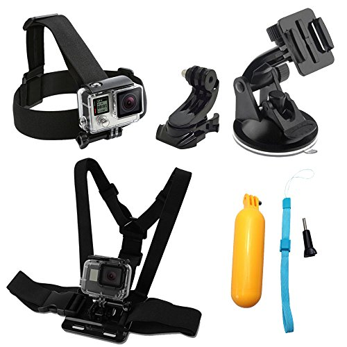 WABIS 7 in 1 Action Camera Accessories Head Strap Mount, Chest Belt Strap Harness Mount and Action Camera Kit with Case For Xiaomi Yi SJ4000/5000/6000 GoPro Hero 5/ 5 Session/4/3+/3/2/1 Akaso Apeman by WABIS