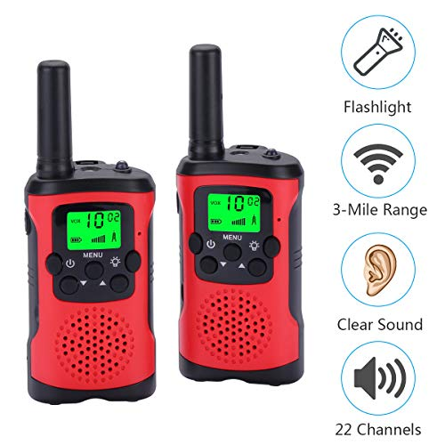 Acehome Children Walkie Talkies Toy Set, 2pcs 3Miles 22 Channel Handheld Two Way Radios Interphone Toy for Boys Girls Indoor Outdoor Game by Acehome