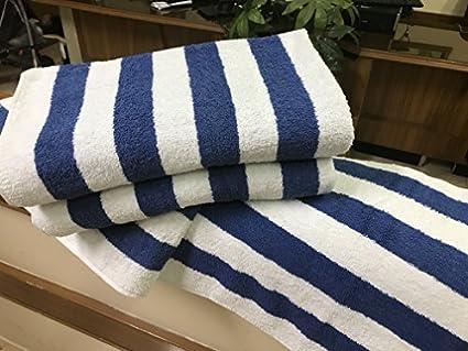 Juego de 4 toallas grandes para playa, piscina de resorte en color azul cabana a rayas de 30 x 70 cm: Amazon.es: Amazon.es