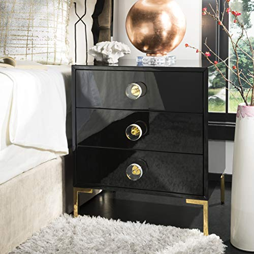Safavieh Home Collection Lucian 3-Drawer Side Table, Black Brass