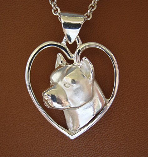 Sterling Silver Pit Bull Terrier / AM Staff Head Study On A Free-Form Heart Pendant (Freeform Heart Pendant)