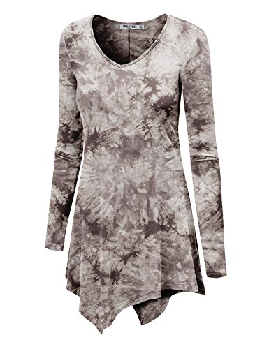 WT1062 Womens V Neck Long Sleeve Tie Dye Handkerchief Hem Tunic S BROWN from Lock and Love