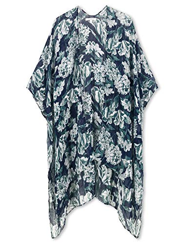 (Moss Rose Women's Beach Cover up Swimsuit Kimono Cardigan with Bohemian Floral Print (Navy with Green Floral))