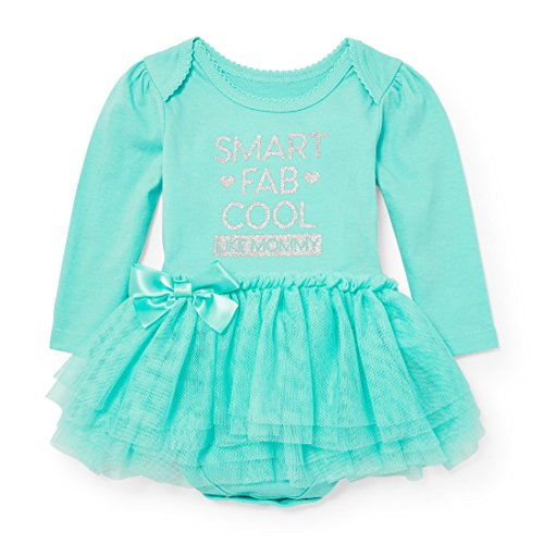 The Children's Place Baby Girls' Long Sleeve Dressy Dresses, Mint Tint 90531, 9-12MOS