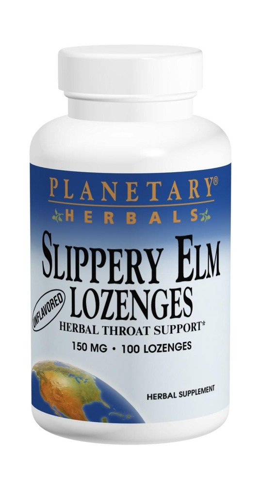 Planetary Herbals Slippery Elm Lozenges, Strawberry, 24 Count