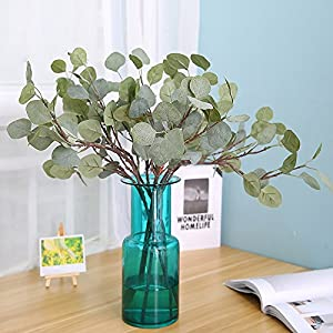 HTFGNC 6PCS Artificial Money Leaves Fake Dollar Eucalyptus Plant for Home Garden Decoration Table Accessory 86