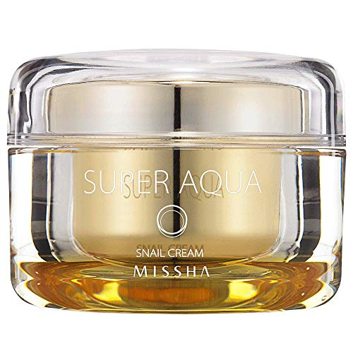 MISSHA Super Aqua Snail Cream - Anti-aging and brightening formula with 65% snail slime extract providing premium solution to damaged skin