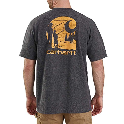 Carhartt Men's 103185 Workwear Graphic Fishing Filled C Short Sleeve T-Shirt - X-Large - Carbon (Mens Fishing Graphic Tees)