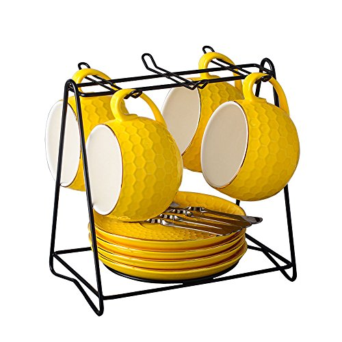 English Tea Set Porcelain Cups With Saucers Spoons Coffee Rack Stand (set of 4) (Yellow, 4) ()