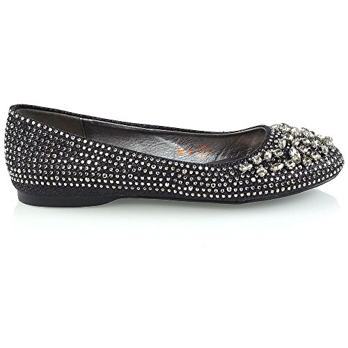 Ladies Flats Black Bridal GLAM ESSEX Shoes Slip Glitter On Pumps Ballerina Womens Diamante Shoes wZqW0SxYp