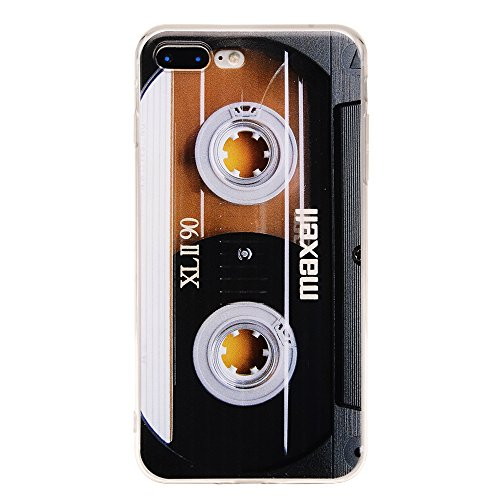 Cover Cassette Case - TNCY Bumper Soft TPU Music Cassette Tape Retro 80's Type Amazing Back Cover Phone Case Compatible with iPhone 7 Plus iPhone 8 Plus 5.5 inch