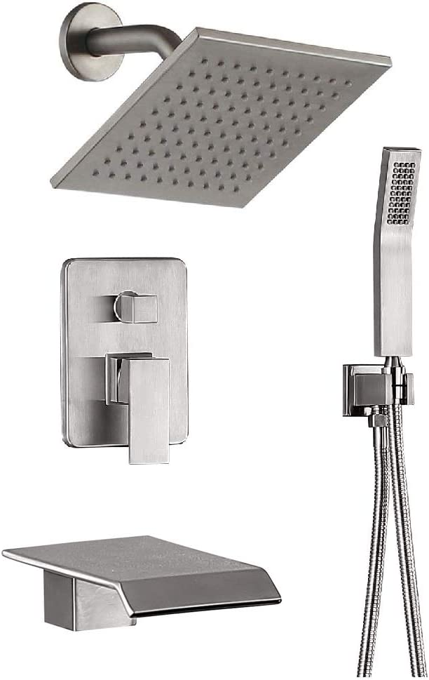 Shower System Brushed Nickel Bathroom Shower Fixtures 8 Inch Rain Mixer Shower Combo With Waterfall Tub Shower Faucet set