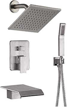 Shower System Brushed Nickel Bathroom Shower Fixtures 8 Inch Rain Mixer Shower Combo With Waterfall Tub Shower Faucet Set Amazon Com
