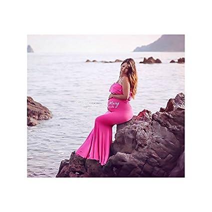 Larga Vestido De embarazadas (Licra), color rosa oscuro