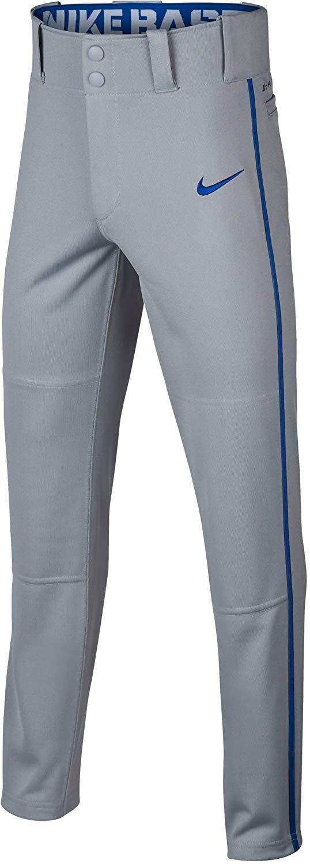 Nike Boys' Swoosh Piped Dri-FIT Baseball Pants (S, Grey/Royal) by Nike