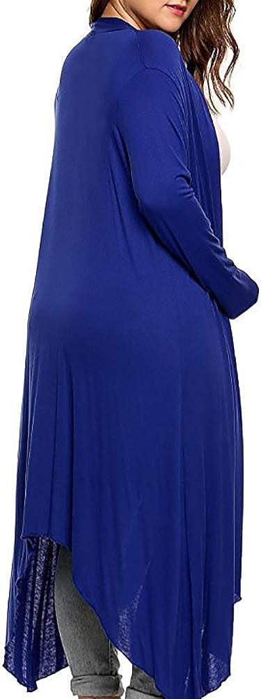 Color : RoyalBlue, Size : 5XL YAXAN Womens Casual Long Sleeve Open Front Knit Cardigan Sweater Coat Tops Coats