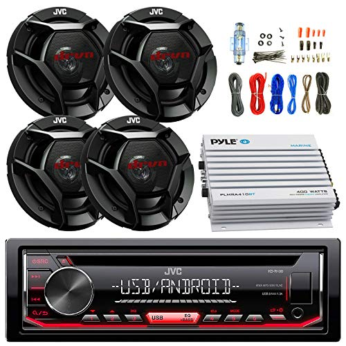 JVC KDR490 Car Radio USB AUX CD Player Receiver - Bundle Combo with 4X 6.5 Inch 300-Watt 2-Way Black Audio Coaxial Speakers + + 4-Channel Amplifier + Amp Kit