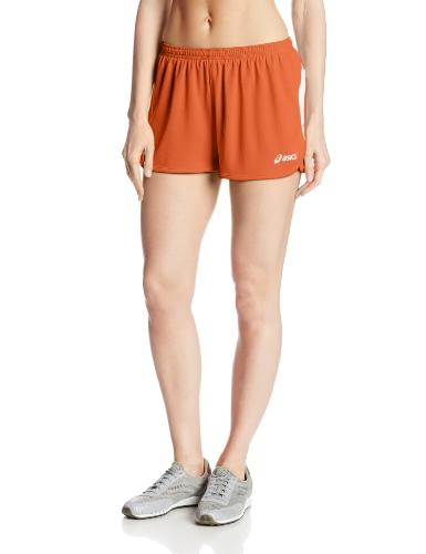 ASICS Women's Interval 1/2 Split Shorts, Orange/White, Medium