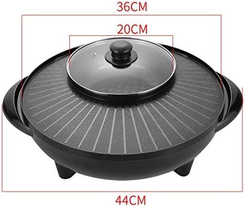 220 V intérieur Korean Bbq Grill, grils électriques, 1500W 2 en 1 électrique sans fumée Grill et Hot Pot, thermostat réglable, double chauffage commande LMMS