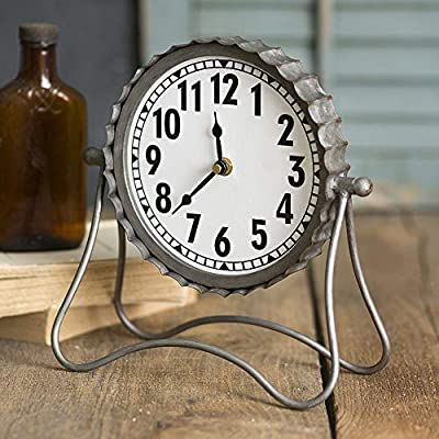 Industrial Desk Clock- Classic Vintage Retro Decorative Metal Desk Clock for Your Home Decor. Arabic Numerals, Farmhouse… -  - clocks, bedroom-decor, bedroom - 517oUKYdNYL. SS400  -