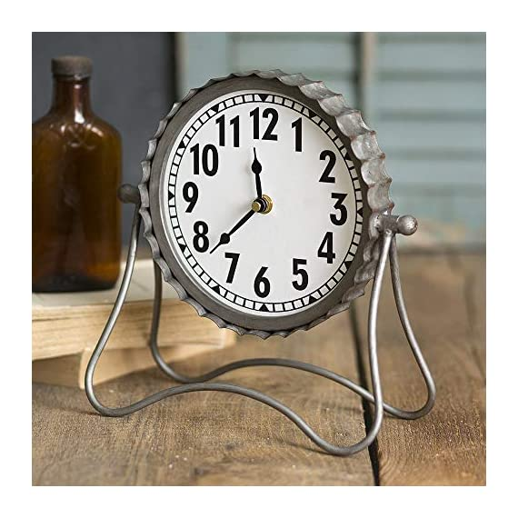 Industrial Desk Clock- Classic Vintage Retro Decorative Metal Desk Clock for Your Home Decor. Arabic Numerals, Farmhouse Rustic Home Decor, Battery Operated and Easy to Read -  - clocks, bedroom-decor, bedroom - 517oUKYdNYL. SS570  -