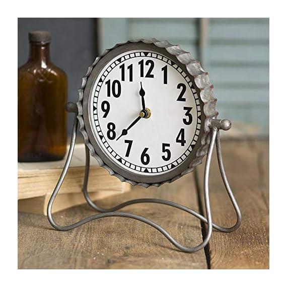 Industrial Desk Clock- Classic Vintage Retro Decorative Metal Desk Clock for Your Home Decor. Arabic Numerals, Farmhouse… -  - clocks, bedroom-decor, bedroom - 517oUKYdNYL. SS570  -