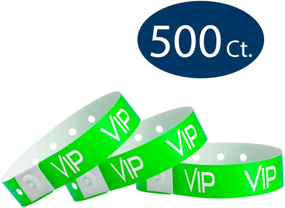 500 Pack Wristbands for Events WristCo Neon Green VIP Plastic Wristbands