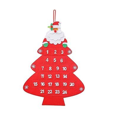 BESTOYARD Calendario de Navidad en Forma de Arbol de Navidad de Fieltro Adornos Arbol de Navidad Desmontables Año Navidad Regalo para Niños (Rojo): Hogar