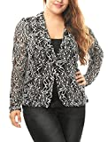 uxcell Agnes Orinda Women's Plus Size Shawl Collar Sheer Floral Lace Blazer