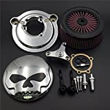 HK-MOTO Motorcycle Chrome Skull with Black Eyes Air Cleaner Intake Filter System Kit For Harley Davidson 2007-later XL Sportster 1200 Nightster 883 XL883 Low XL1200L Seventy Two Forty Eight