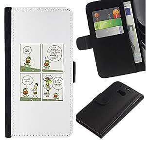 YiPhone /// Tirón de la caja Cartera de cuero con ranuras para tarjetas - ILUSTRACIÓN JIRAFA DIVERTIDA - HTC One M8