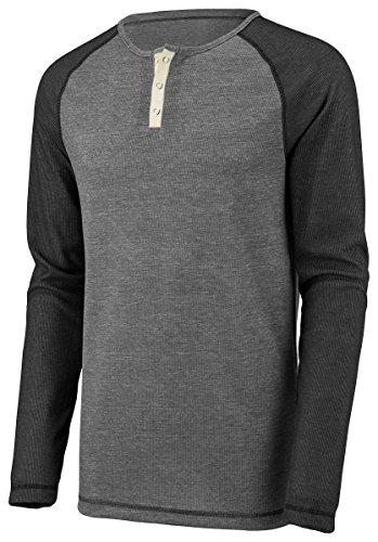Augusta Sportswear Men's Linear Fusion Long Sleeve Henley 3XL Oxford Grey/Black Fusion