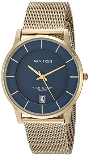 (Armitron Men's Date Function Dial Gold-Tone Mesh Bracelet Watch)