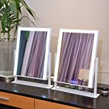 Large Makeup Mirror with Big LED Light Touch Screen Lighted Mirrors Adjustbale Brightness (White With Clock)