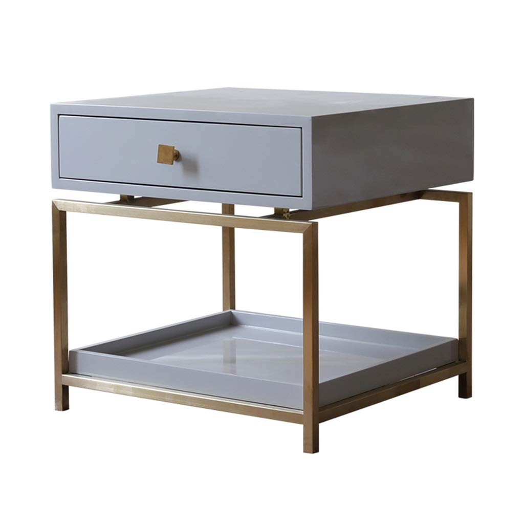 ライトラグジュアリーベッドサイドテーブルパインウッド品質ゴールドメタルフレームホテルホームスタジオシンプルな家具 B07LFJ8MHB