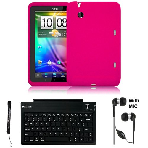 3g Crystal Silicone (Pink Cover Protective Slim Durable Silicon Skin Case for HTC Flyer 3G WiFi HotSpot GPS 5MP 16GB Android OS AD2P 7 Inch Tablet Device + Includes a eBigValue (TM) Determination Hand Strap + Includes a Crystal Clear HD Noise Filter Handsfree with Mic and Mute Button + Includes a Slim Travel Wireless Bluetooth Keyboard)