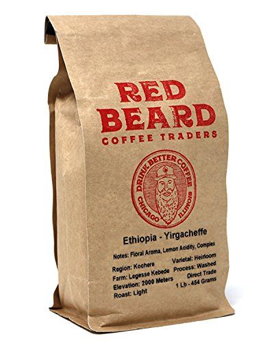 Red Beard Coffee Ethiopia Kochere Blend Light Roast 1lb for a Complex Floral Aroma Lemon Acidity Tea Like Body Cupping by Red Beard Coffee