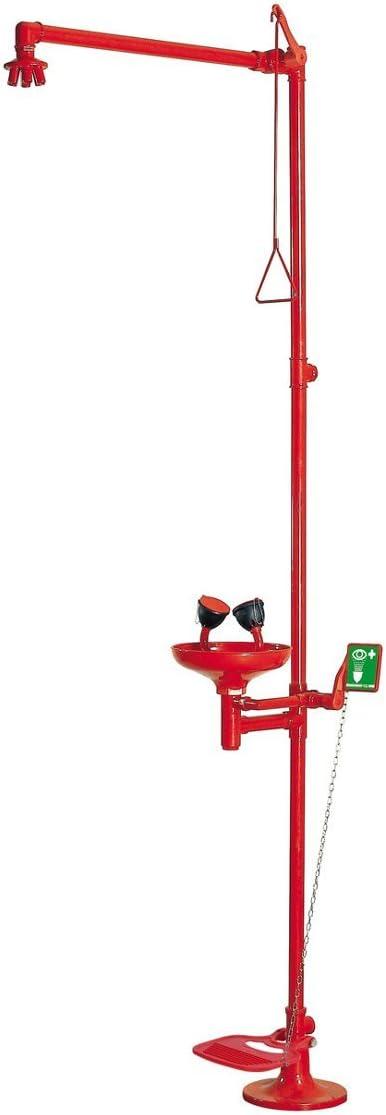 Ducha/lavaojos con Doble Mando con Pedal - EiS Experts in Safety - Rojo