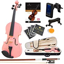 Mendini Size 3/4 MV-Pink Solid Wood Violin with Tuner, Lesson Book, Shoulder Rest, Extra Strings, Bow and Case, Metallic Pink