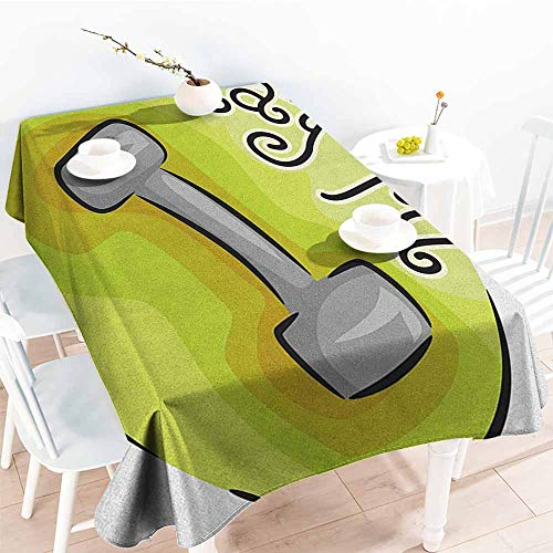 Willsd Rectangular Tablecloth,Fitness Stay Fit Circular Icon with a Dumbbell Cartoon Style Fun Illustration,Modern Minimalist,W60X90L Pale Green Grey Black