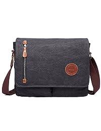 Tibes Canvas School Bag Vintage Messenger Bag Leisure Crossbody Bag for Men