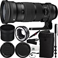 Sigma 120-300mm f/2.8 DG OS HSM Lens for Canon & MC-11 Mount Converter/Lens Adapter (Canon EF-Mount to Sony E) 9PC Bundle Includes Manufacturer Accessories + Heavy Duty Monopod Selfie Stick + MORE