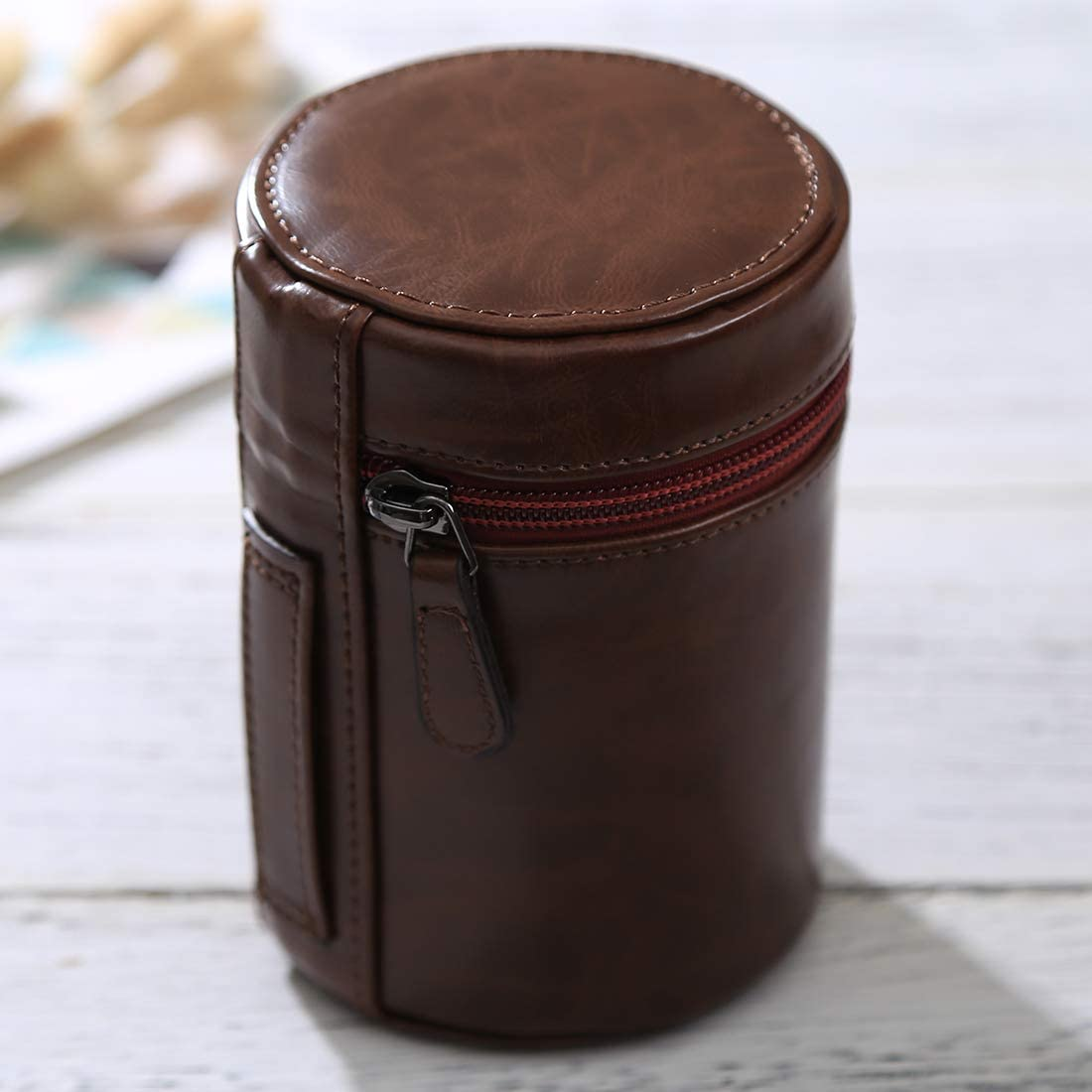 Caofeng lens case Pouch Medium Lens Case Zippered PU Leather Pouch Box for DSLR Camera Lens Black Color : Coffee Size: 13x9x9cm