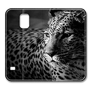Brain114 Fashion Style Case Design Flip Folio PU Leather Cover Standup Cover Case with Black And White Jaguar Pattern Skin for Samsung Galaxy S5 I9600