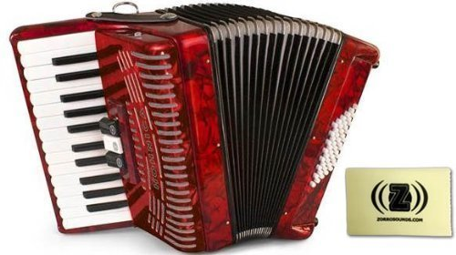 Hohner 1304-RED 26 Key Accordion, 48 Bass Style Keyboard Piano Accordion in Red Bundle with Zorro Sounds piano accordion cloth by Hohner Accordions